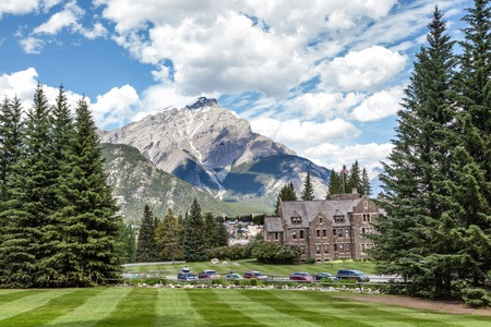 Cascade Mountain as seen from the grounds of Cascade Gardens in Banff National Park