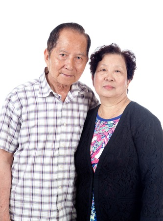 Married senior Asian couple portrait, isolated on white