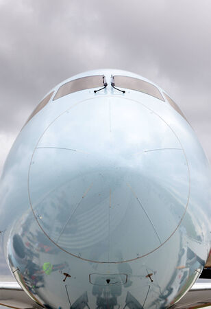 boeing: Close-up of the front of a commercial aircraft nose cone