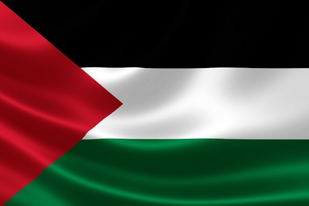 3D rendering of the Palestinian flag on satin texture Imagens - 30450543