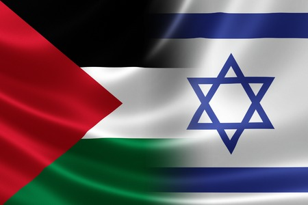 3D rendering of a merged Israeli-Palestinian flag on satin texture