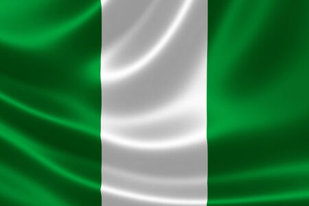 Close-up of the flag of Nigeria on satin texture