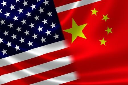 정치적으로, 경제적으로 양국 간 상호 영향력 관계의 새틴 질감의 개념에 병합 된 중국과 미국 국기의 3D 렌더링