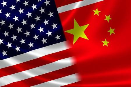 3D rendering of a merged Chinese and USA flag on satin texture  Concept of the mutually influential relations between the two countries politically and economically  photo
