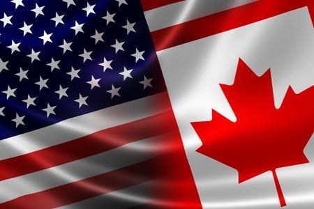 새틴 질감에 병합 된 캐나다 - 미국 플래그의 3D 렌더링 정치적으로 경제적으로 두 나라 사이 상호 영향력있는 관계의 개념