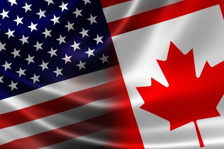 3D rendering of a merged Canadian-USA flag on satin texture  Concept of the mutually influential relations between the two countries politically and economically  Archivio Fotografico