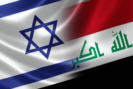 israeli: Merged Israeli and Iraqi flag on satin texture  Concept of the long history and proximity between the two hostile countries