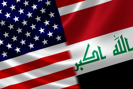 Merged US and Iraqi flag on satin texture  Concept of the long historical relations and often tension between the two countries