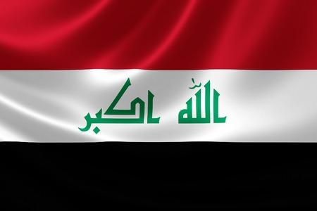 iraqi: 3D rendering of the Iraqi flag on satin texture