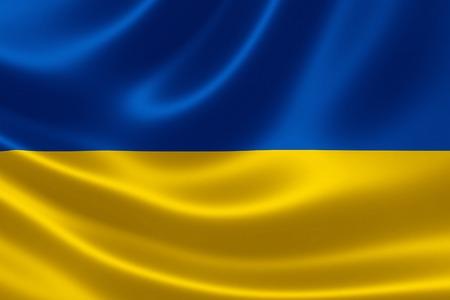 3D rendering of Ukraines flag on satin textile texture.