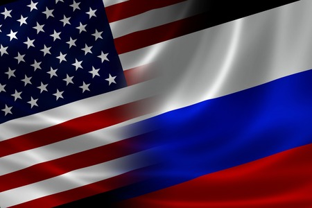 merged: Merged US and Russian flag on satin texture. Concept of the long historical and political relations between the two countries.