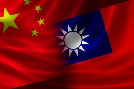 naciones unidas: Representación 3D de una bandera-Chino Taiwanés fusionada en raso de seda. Concepto de las únicas relaciones a través del estrecho entre las 2 entidades políticas.