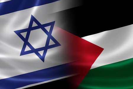 merged: 3D rendering of a merged Israeli-Palestinian flag on satin texture.