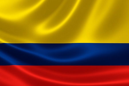 colombia flag: 3D rendering of the flag of Colombia on satin texture. Stock Photo