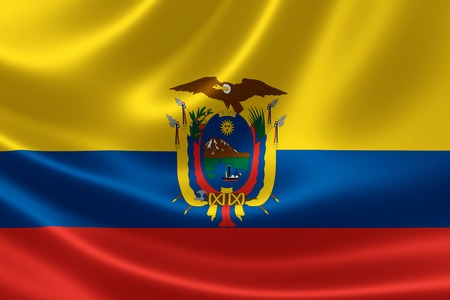 3D rendering of the flag of Ecuador on satin texture.