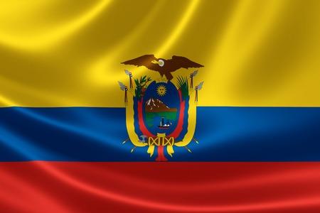 ecuadorian: 3D rendering of the flag of Ecuador on satin texture.