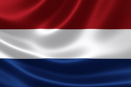 the netherlands: 3D rendering of the flag of Netherlands on satin texture.