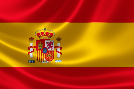 flag spain: 3D rendering of the flag of Spain on satin texture. Stock Photo