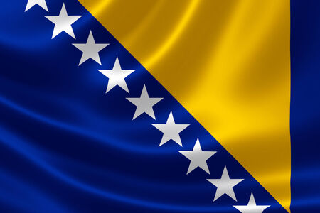 serb: 3D rendering of the flag of Bosnia and Herzegovina on satin texture.