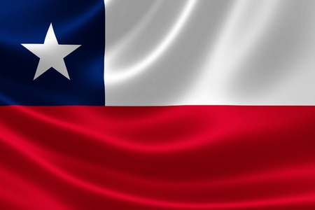 chile flag: 3D rendering of the flag of Chile on satin texture.
