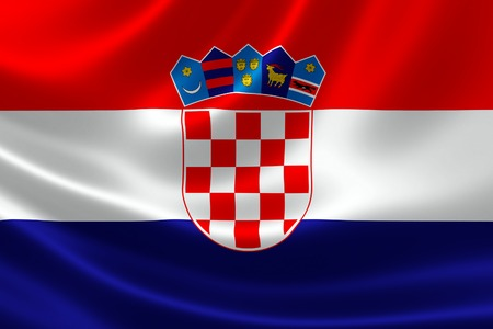 bandera de croacia: Representación 3D de la bandera de Croacia en textura satinada.