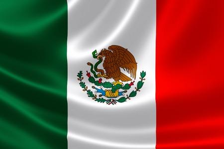 Rendering 3D della bandiera del Messico sulla trama satinata. Archivio Fotografico - 30724903