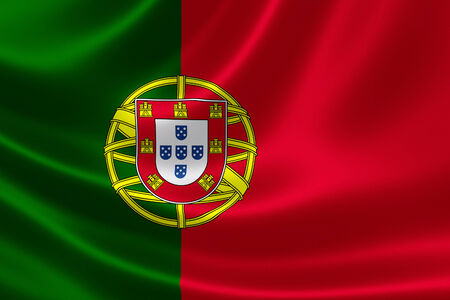 3D rendering of the flag of Portugal on satin texture.