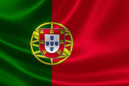 Rendering 3D della bandiera del Portogallo sulla trama satinata. Archivio Fotografico - 30724905