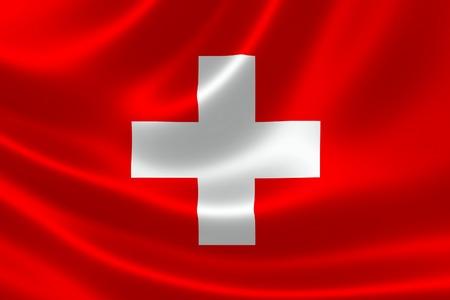 switzerland flag: 3D rendering of the flag of Switzerland on satin texture.