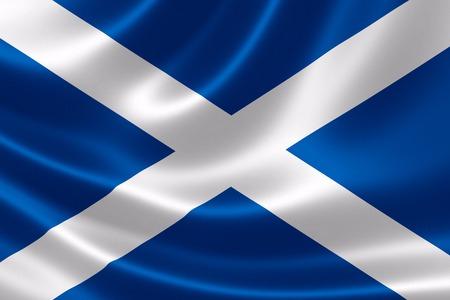 サテンの質感でスコットランドの国旗の 3 D レンダリングします。