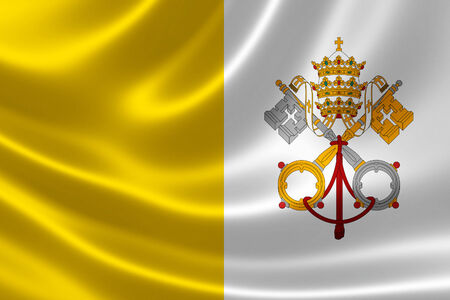 vatican city: Close-up of the Vatican flag on satin texture.