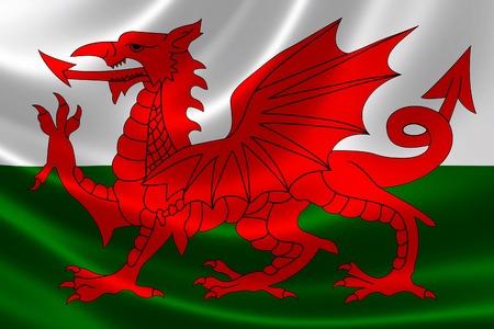 Rendering 3D della bandiera del Galles sulla trama satinata.