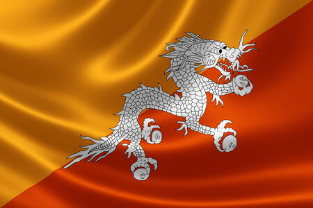 Close up of the flag of Bhutan on silky fabric