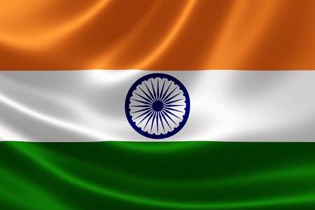 bandera de LA INDIA: Cierre de la bandera de la India en la tela sedosa