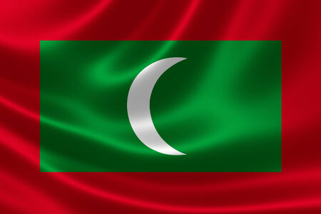 Close up of the flag of Maldives on silky fabric