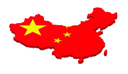 people's republic of china: 3D rendering of the map of China. Isolated on white background.