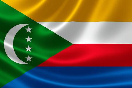 comoros: 3D rendering of the flag of Comoros on satin texture. Stock Photo
