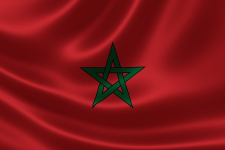3D rendering of the flag of Morocco on satin texture.
