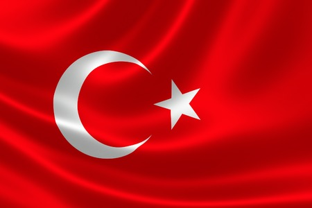 turkish flag: 3D rendering of the flag of Turkey on satin texture.