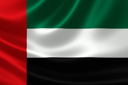 3D rendering of the flag of United Arab Emirates on satin texture.
