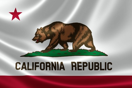 flag: 3D rendering of the flag of California on satin texture. Stock Photo