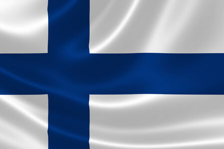 3D rendering of the flag of Finland on silky fabric texture.