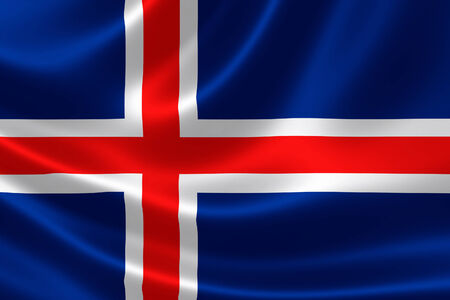 3D rendering of the flag of Iceland on satin texture.