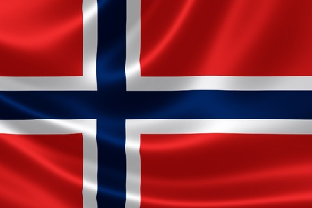 3D rendering of the flag of the Kingdom of Norway on satin texture. Banco de Imagens