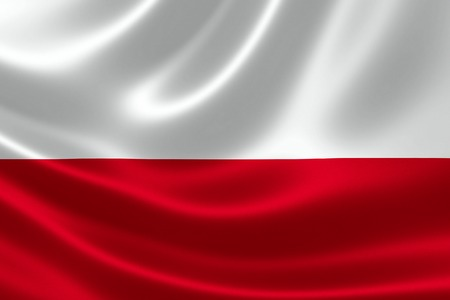 3D rendering of the flag of Poland on satin texture. Stock Photo