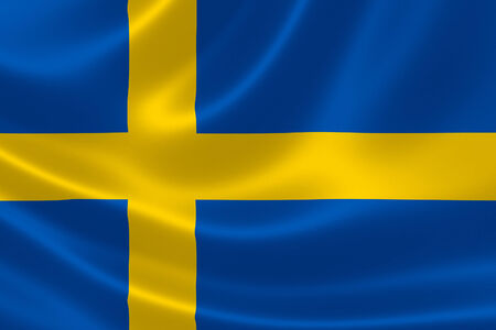sweden flag: 3D rendering of the flag of Sweden on silky fabric texture.