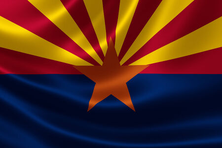 3D rendering of the flag of Arizona on satin texture. Banque d'images