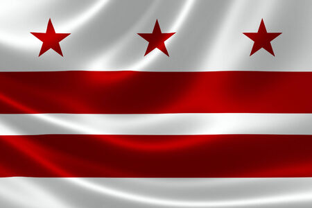columbia district: 3D rendering of the flag of District of Columbia (Washington DC) on satin texture.