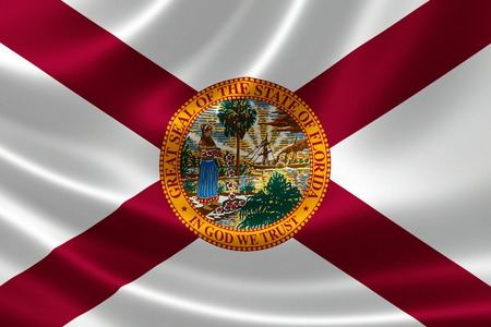 floridian: 3D rendering of the flag of Florida on satin texture. Stock Photo