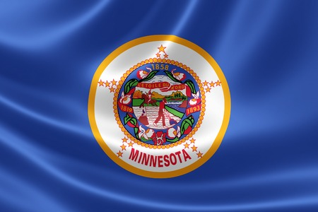 3D rendering of the flag of Minnesota on satin texture. Banque d'images